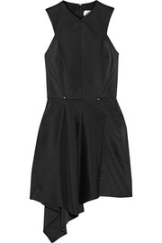 Asymmetric stretch-cady mini dress