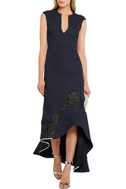 Esteban Cortazar Asymmetric silk-cloqué and basketweave dress