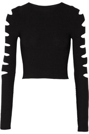 Cropped cutout ribbed stretch-knit top