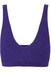 Ribbed stretch-knit bra top