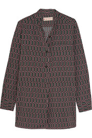 Marni Printed stretch-satin crepe shirt