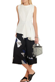 Marni Asymmetric cotton and linen-blend top