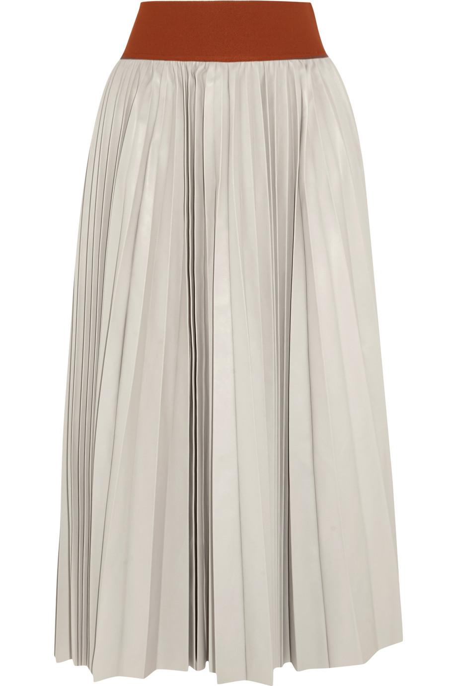Marni Plissé-Leather Skirt, Stone, Women's, Size: 38