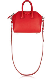 Mini Antigona bag in red textured-leather