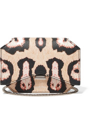 Bow Cut shoulder bag in leopard-print textured-leather