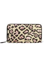Continental wallet in leopard-print coated canvas