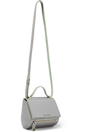 Pandora Box shoulder bag in gray and mint textured-leather
