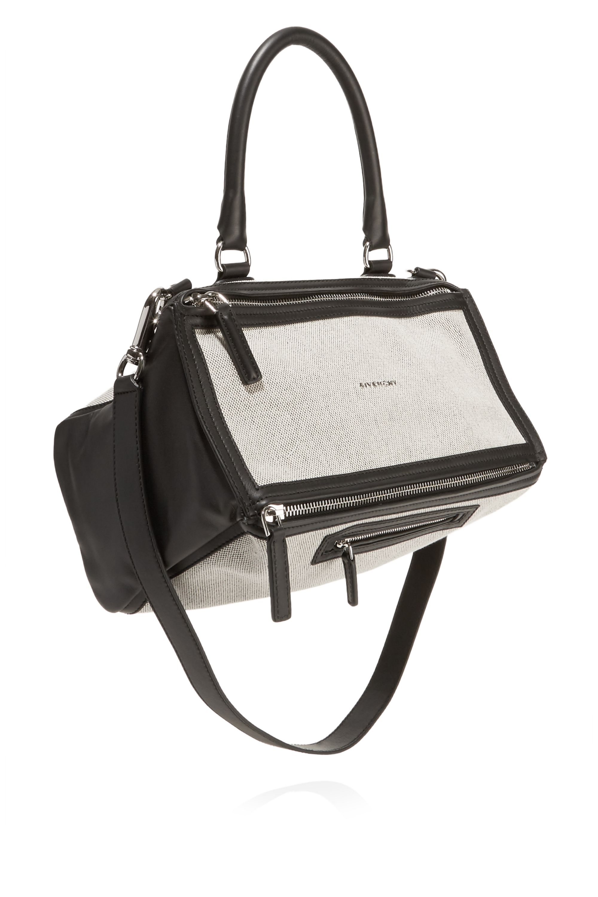 Givenchy Medium Pandora bag in black leather and off-white canvas
