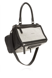 Medium Pandora bag in black leather and off-white canvas