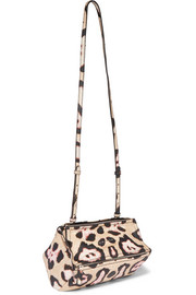 Mini Pandora shoulder bag in leopard-print textured-leather