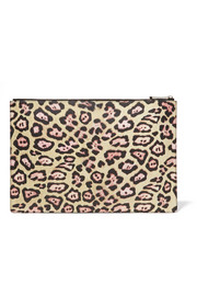 Large pouch in leopard-print coated canvas