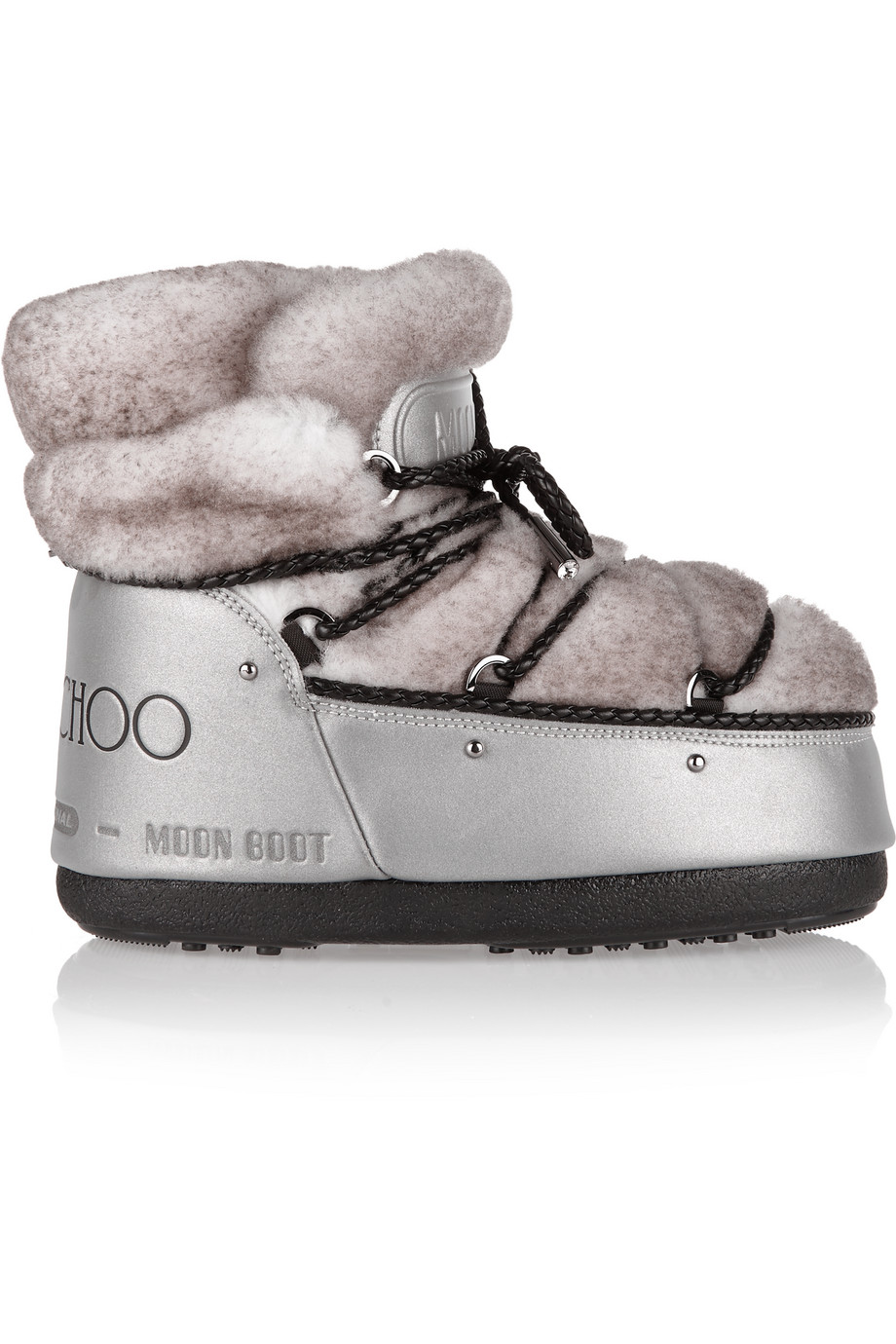Moon Boot + Jimmy Choo MB Buzz Shearling and Shell Snow Boots, Silver/Gray, Women's, Size: 41/42