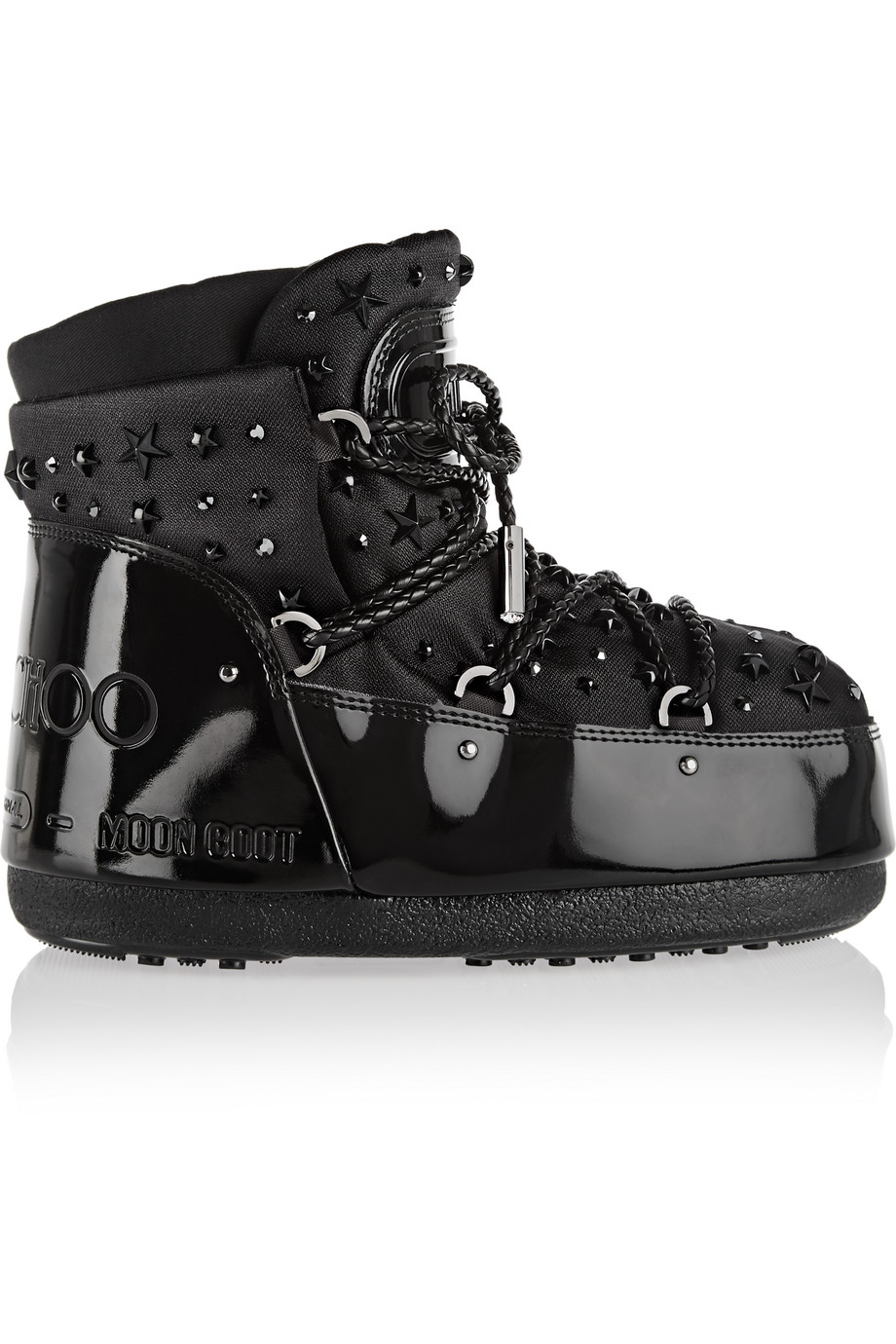 Moon Boot + Jimmy Choo MB Buzz Embellished Faux Patent-Leather and Shell Snow Boots, Black, Women's, Size: 37/38