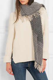 Clemence herringbone cashmere, wool and silk-blend scarf