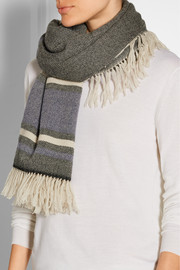 Jayna fringed striped wool and cashmere-blend scarf
