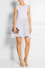 Antonio Berardi Stretch-knit and guipure lace mini dress