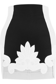 Guipure lace-trimmed satin and stretch-crepe mini skirt