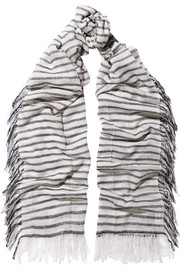 Ayet striped wool and cashmere-blend scarf