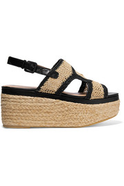 Antic leather-trimmed raffia platform sandals
