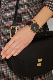 Larsson & Jennings Läder suede and gold-plated watch