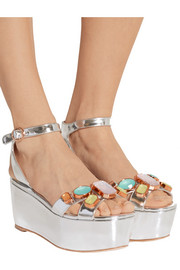 Sophia Webster Suki Gem embellished mirrored-leather sandals