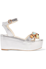 Suki Gem embellished mirrored-leather sandals