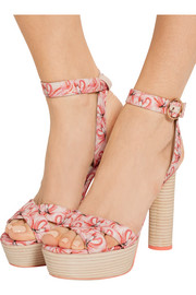 Amanda Dreamy Flamingo printed satin platform sandals
