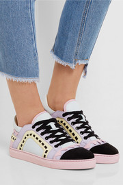 Sophia Webster Riko laser-cut leather and suede sneakers