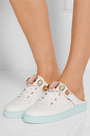 Sophia Webster Jessie Gem embellished croc-effect leather sneakers