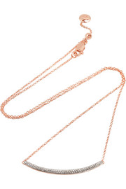 Skinny Curve rose gold-plated diamond necklace