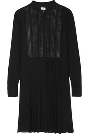 Vince Embroidered silk crepe de chine dress