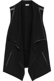 Draped leather-trimmed stretch-felt vest