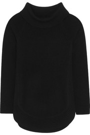 Zip-detailed ribbed wool and cashmere-blend sweater