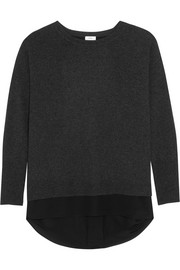 Silk-trimmed wool and cashmere-blend sweater