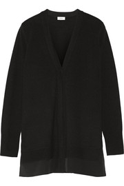 Silk-trimmed wool and cashmere-blend cardigan