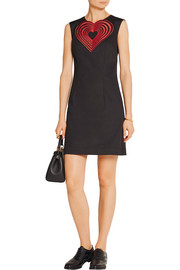 Christopher Kane Embroidered stretch-cotton twill mini dress