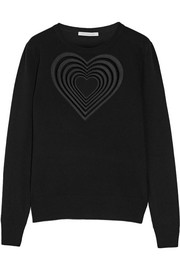 Love Heart guipure lace-trimmed wool and cashmere-blend sweater