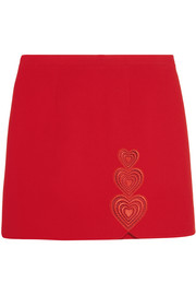 Love Heart embroidered cutout crepe mini skirt