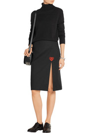 Embroidered stretch-cotton twill skirt