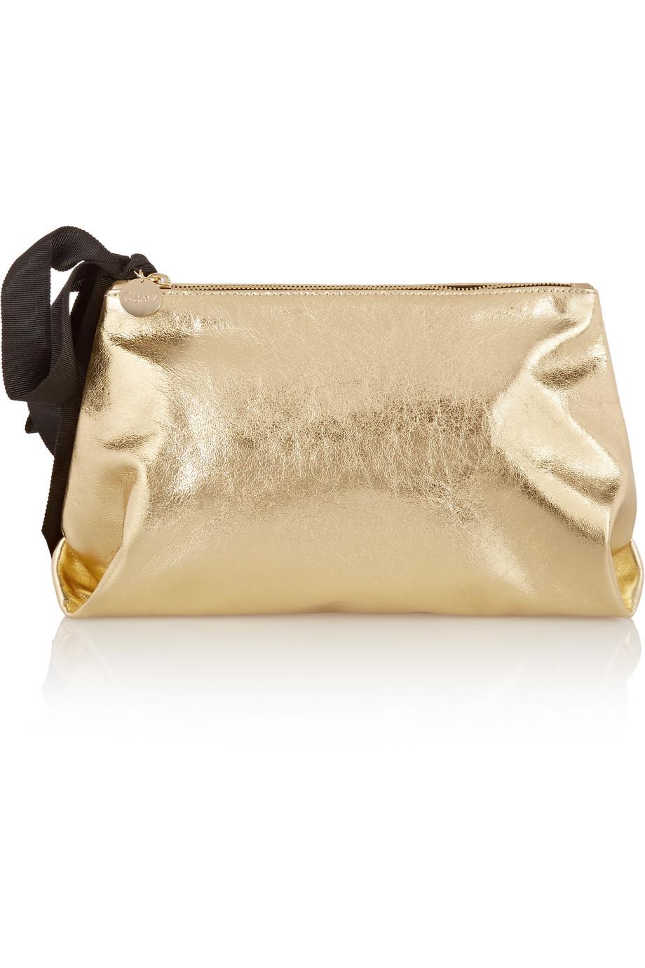 Clare V Mimi Metallic Leather Clutch, Gold, Women's