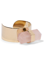 Santa gold-tone quartz ring