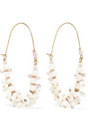 Jacques gold-tone, bone and howlite earrings