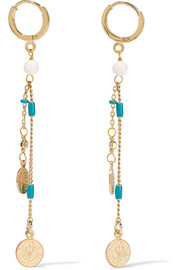 Casablanca gold-tone, bone and resin earrings