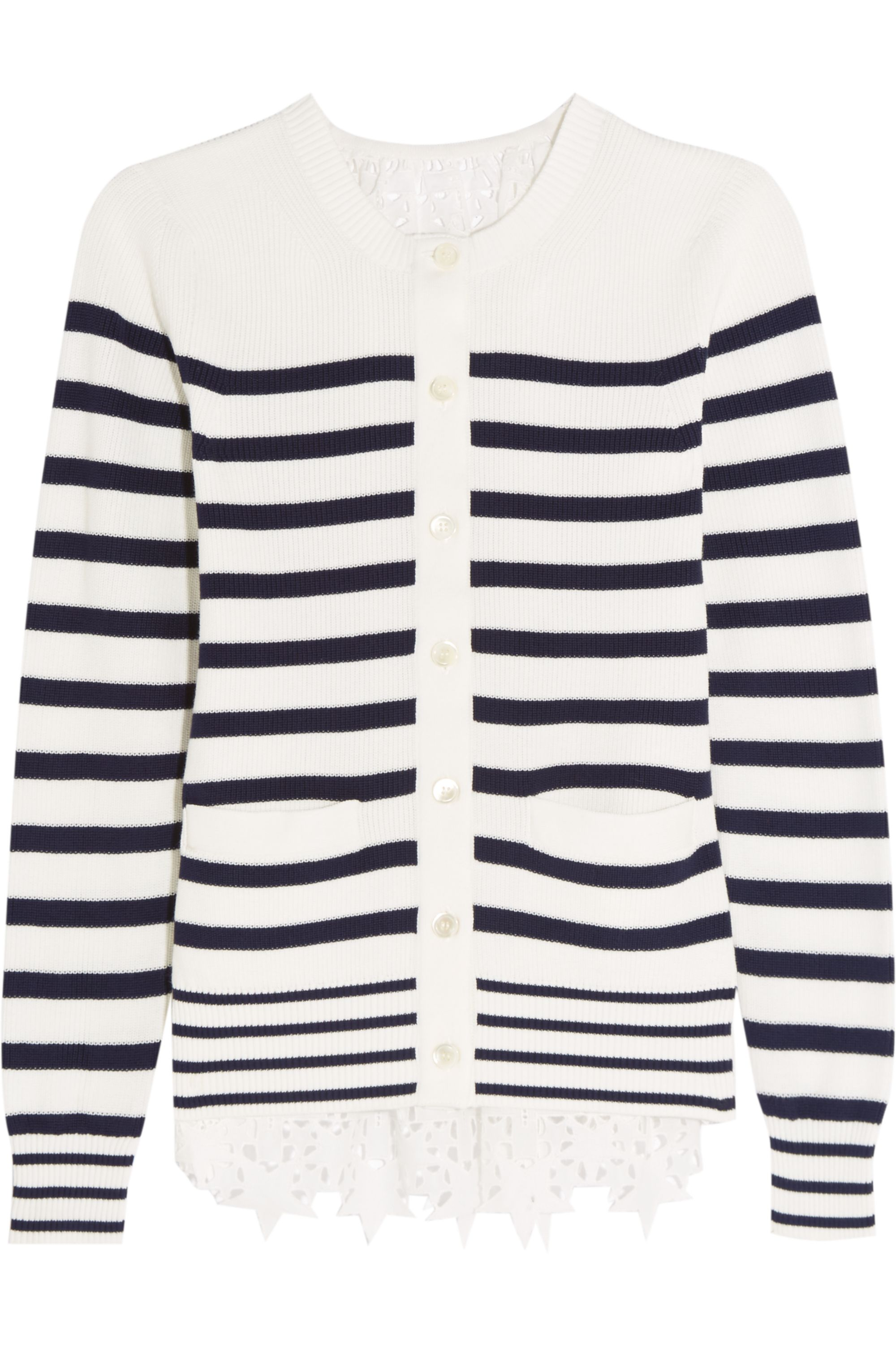 Sacai Broderie anglaise-paneled knitted cotton cardigan