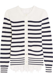 Broderie anglaise-paneled knitted cotton cardigan