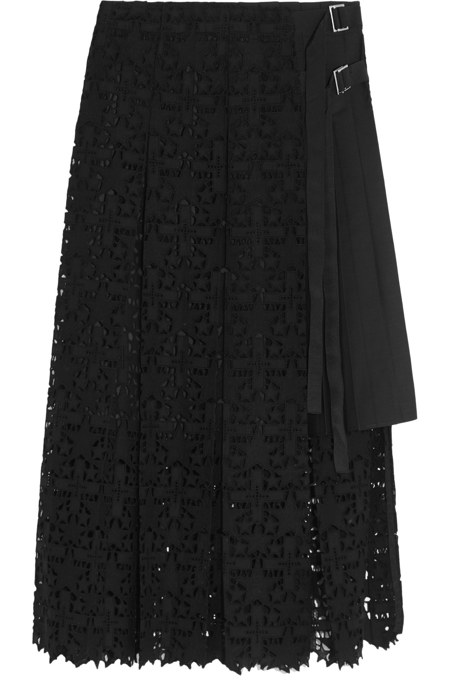 Sacai Pleated Broderie Anglaise Cotton Skirt, Black, Women's, Size: 4