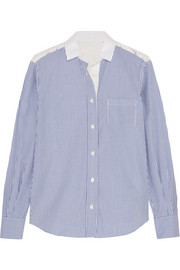 Striped cotton-poplin and guipure lace shirt