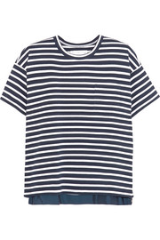 Zip-detailed striped cotton T-shirt