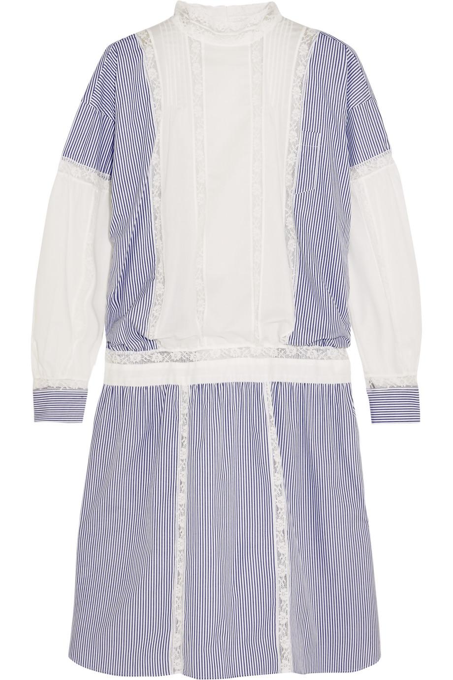 Sacai Lace-Trimmed Striped Cotton Dress, Light Blue, Women's - Striped, Size: 1