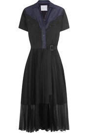 Denim-paneled cotton-blend poplin dress